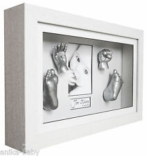New 3D Large Baby Casting Kit + White Deep Box Frame Christening Memory Keepsake