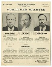 """Wanted Sheet - """"Fugitives Wanted"""" - Mail Fraude - Chicago, IL - 1937"""