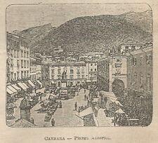 A0914 Carrara - Piazza Alberico - Stampa Antica del 1911 - Xilografia