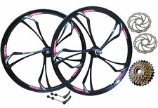 "26"" Bike MTB Magnesium Alloy Wheel Set + 6 Speed Shimano Freewheel + Disc Rotors"