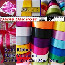 """SATIN RIBBON 1""""/25MM WIDE, MANY COLOURS, 2M TO 100M LONG, CRAFT GIFTS WRAPPING"""