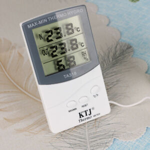 Digital Thermometer Hygrometer Temperature Humidity Meter Room Outdoor w/ Probe