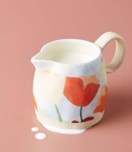 NWT Anthropologie Tulip Creamer Hand Paint Stoneware