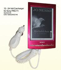 Weisser Autolader für Sony PRS-T1 12 - 24 Volt KfZ Ladekabel EBook PRS  T1 - 12V