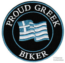 PROUD GREEK BIKER embroidered PATCH GREECE FLAG EMBLEM iron-on HELLAS emblem