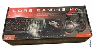 Evo Core Gaming Kit 4-in-1 LED Glow Gaming Pack Keyboard Mouse Headset Mousepad