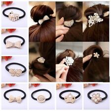 3pcs Women  Hair Band Elastic Crystal Rhinestone Holder Ponytail Bowknot Random