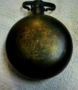 Antique Chinese Bronze? Brass? Brown Flask/Canteen Etched Cranes & Dragon. LOOK!