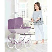 Dolls Pram Purple Doll Pushchair Buggy Toy Accessories Kids Childrens Toys NEW