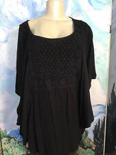 ONE WORLD L NEW BLACK CROCHET BIB FRONT ROUND NECK BUTTERFLY SLEEVES TUNIC TOP