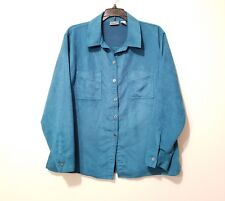 Chicos Sz 2 Button Down Blouse Faux Suede Teal Long Sleeve Polyester Large