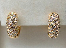 18k Gold Plated CZ Set Huggie Hoop Earrings.
