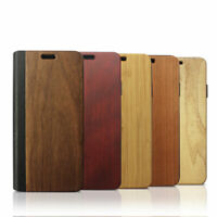 Natural Real Wood Wooden & Leather Flip Cover Stand Case for Apple iPhone