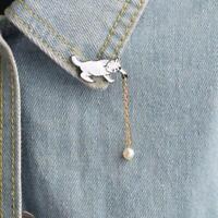 Katze Ball Pins Brosche Perle Abzeichen Tier Broschen Tasche Jacke Anstecknadel