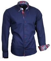 Hemd Herrenhemd Shirt Doppelkragen marineblau Binder de Luxe 81709 Blau Camicie