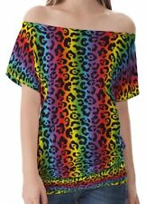 Hip Length Cotton Blend Leopard Tops & Shirts for Women