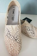 Toms Alpargata Lace Classic Natural Floral Lace Ivory Flats Casual Shoes 8 NWT