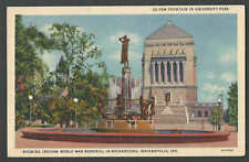 PPC #H38* GOOD POSTCARD DE PEW FOUNTAIN&WORLD WAR MEMORIAL INDIANAPOLIS IN MINT