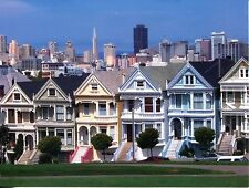 POST CARD OF FAMOUS VICTORIAN HOUSES ON THE GREEN IN SAN FRANCISCO