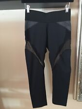Michi Womens Leggings 3/4 Length Black W See Threw Inserts And Mesh Size Small
