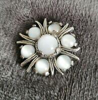 Vintage MIRACLE small Brooch Celtic Scottish Pin milky Stones silvertone vtg