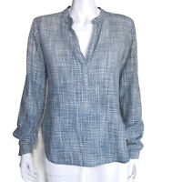 BELLA DAHL Blue Woven V Front Cotton Long Sleeve Top size XS /1939