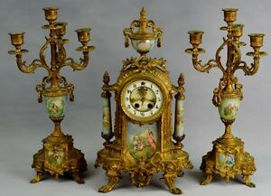 "19t Gilbert ""Alexis"" Ormolu GILT AND scenic Sevres St 3pc PORCELAIN CLOCK set"