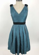 Adrianna Papell Evening Dress Womens Size 4 Formal Green V-Neck Low Back