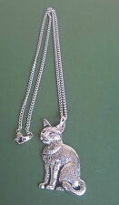 pewter pendant, cat design, hand made in Cornwall with surgical steel chain