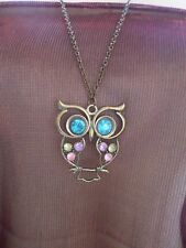 """Jewelled Cute Owl Pendant and 28"""" Long Chain"""
