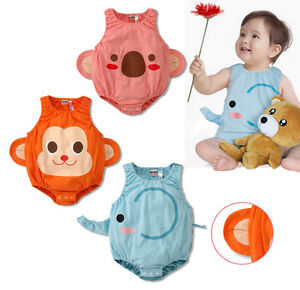 ANIMAL ROMPER 100% COTTON Bodysuit Costume Outfit BABY BOYS GIRLS 00 0 1