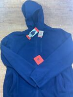 Brand New Men's Reebok Fleece Jacket Navy Blue Full Zip Hooded Size-M Medium