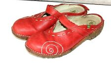 El Naturalista Yggdrasil Embroidered Leather Mary Jane Mule Clogs Shoes Red 39