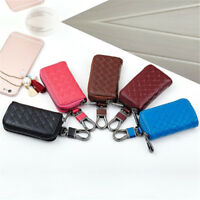 Genuine Cow Leather Woven Wallet Men Lady Car Key Bag Multi Function Case Holder