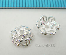 6x BRIGHT STERLING SILVER FLOWER BEAD CAP 7.2mm SPACER BEAD #2479