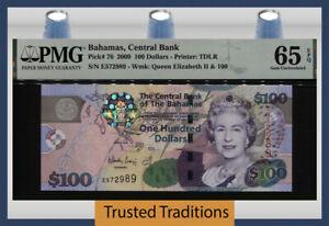 TT PK 76 2009 BAHAMAS 100 DOLLARS QUEEN ELIZABETH II PMG 65 EPQ GEM UNCIRCULATED