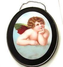 "Fabulous Victorian Flue Cover Colorful Winged Cherub Under Glass 7 1/2"""