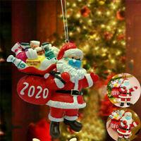 Christmas Tree Ornaments 2020 Santa Wearing Mask Hanging Decor Creative Gifts