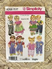 """New Simplicity Pattern #4268, """"Matching 15"""" Boy & Girl Doll Clothes"""", 8 Outfits"""