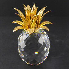 "Swarovski Crystal Pineapple With Gold Colored Leaves (4 1/2"" Tall)"
