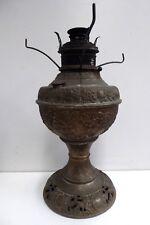 ORNATE MILLERS ANTIQUE BRASS KEROSENE OIL TABLE LAMP