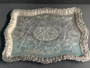 Large antique Persian silver tray floral - imperial scenes collection mark