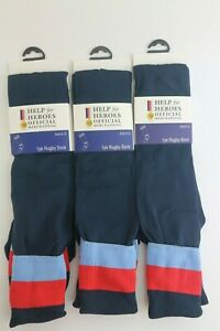 3 pairs of Help for Heroes Rugby Socks  Navy Size Large