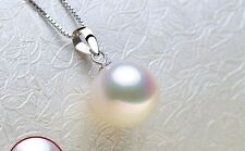 huge 12mm natural south sea genuine white round pearl pendant AAA