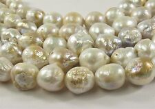 10-12mm Natural Golden White Rare Edison Nucleated Baroque Pearl Beads (#277)