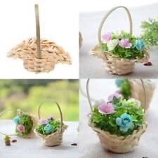 Handmade Bamboo Woven Flower Basket Mini Plant Hanging Holder Case Garden Decor