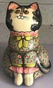 Joan De Bethel 7 inch Papier-mâché Cat 1970 When Things Are Grim Motto