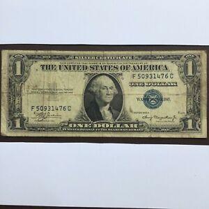 1935A USA SILVER CERTIFICATE BLUE SEAL ONE DOLLAR BILL. F50931476C.