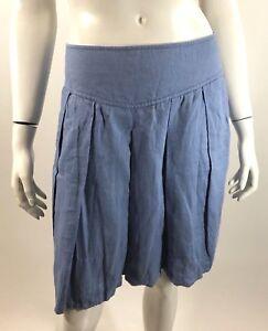 Banana Republic Womens Skirt Size 0 Blue Pleated Linen Knee Length