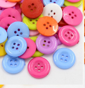 100 Bulk 15mm  Round Buttons  Craft Scrapbooking Bouquet Sewing Multi-Coloured
